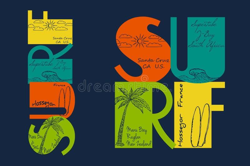 Pratichi il surfing la tipografia con il disegno del sole, l'onda, surf