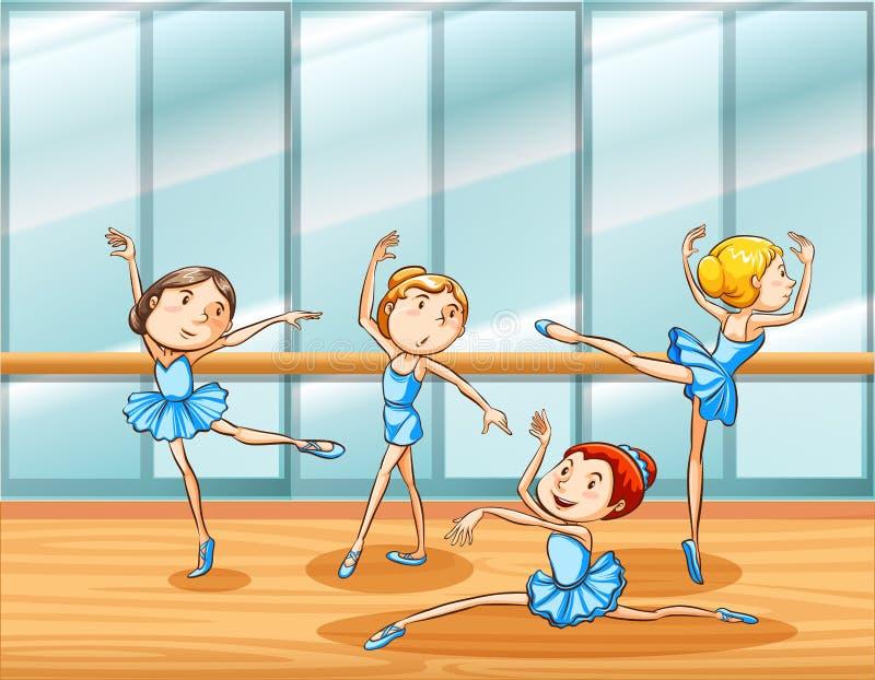 Pratique en matière de quatre danseurs classiques dans la chambre illustration libre de droits