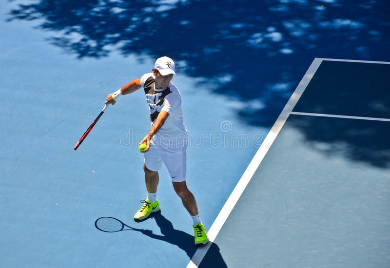 Pratique en matière de Roger Federer image libre de droits