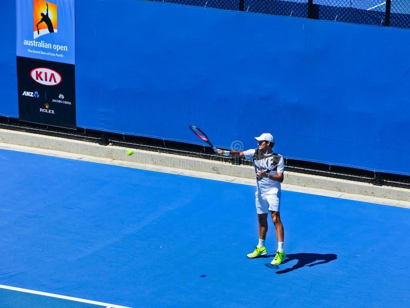 Pratique en matière de Roger Federer images libres de droits