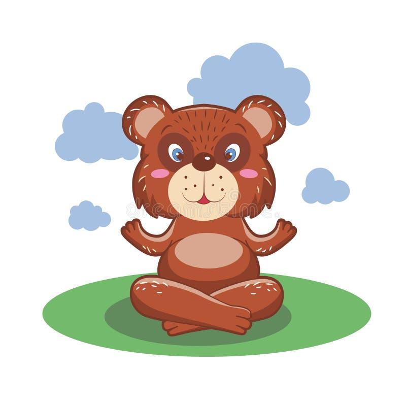 Pratique en matière mignonne et belle de caractère d'ours de yoga Illustration illustration de vecteur