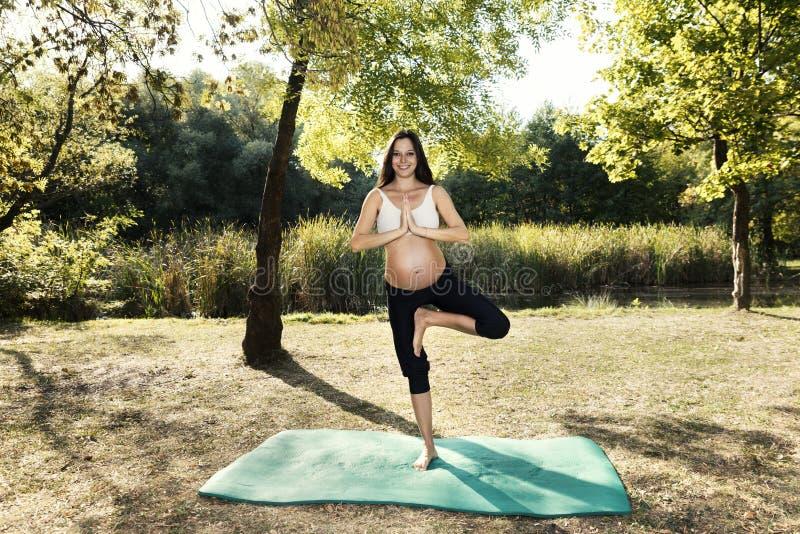 Pratique en matière spirituelle de yoga de femme enceinte d'énergie images libres de droits