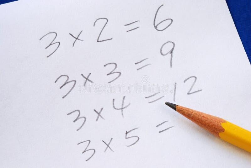 Pratiquez la table de multiplication photo stock