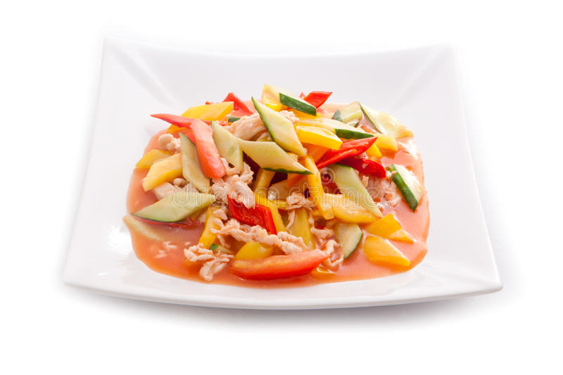 Prato asiático da carne com vegetais imagem de stock