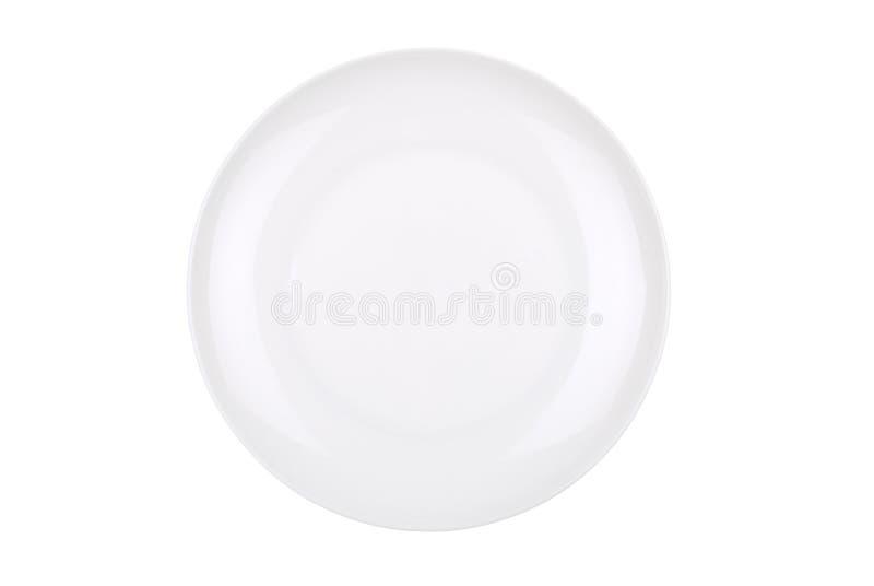 Prato branco isolado no branco foto de stock