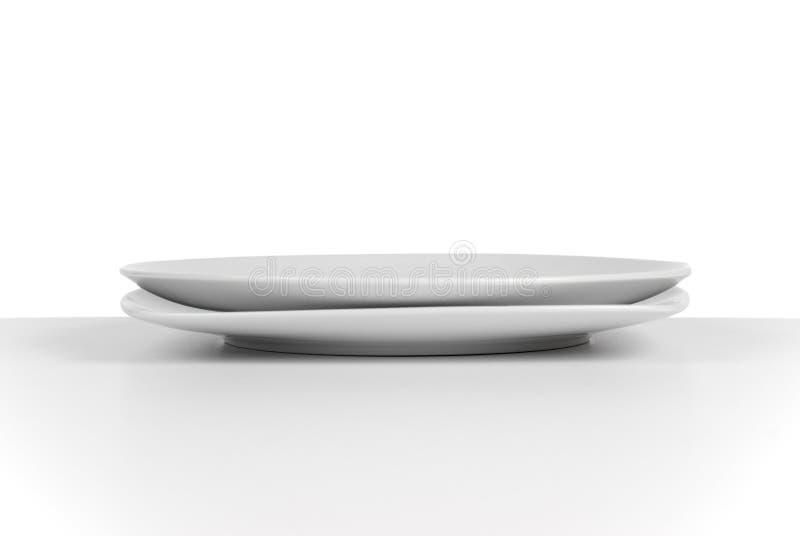 Prato cerâmico branco vazio fotos de stock