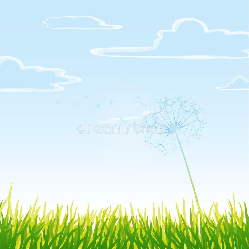 Prato con il cielo nuvoloso. royalty illustrazione gratis