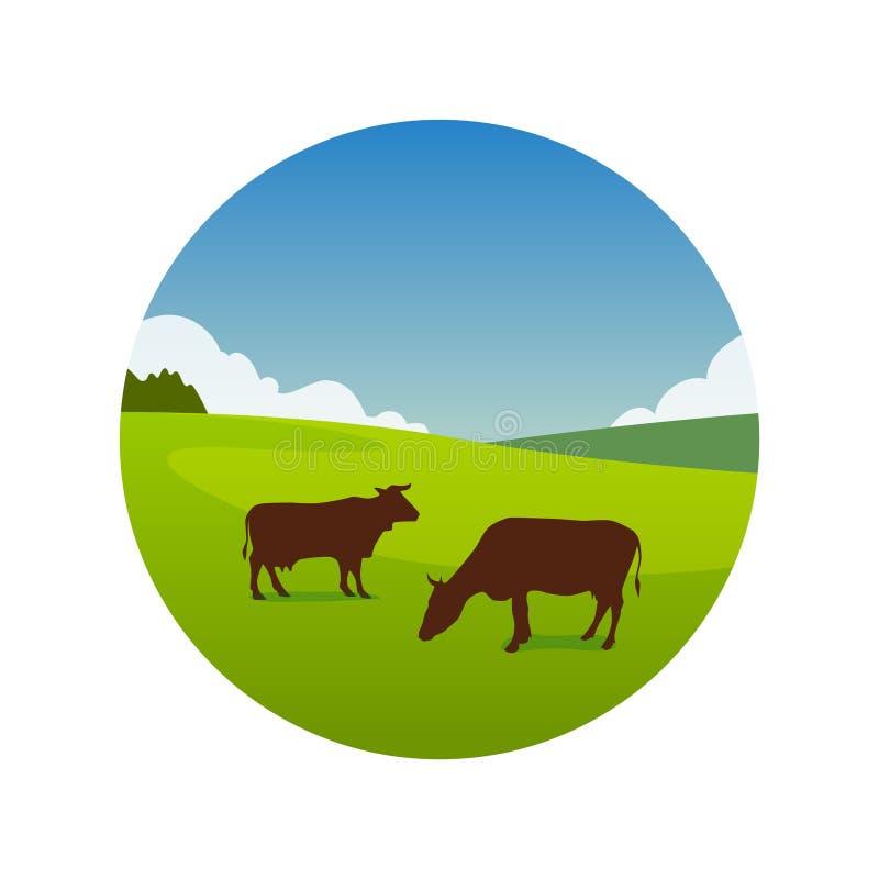 Prato con il pascolo delle mucche illustrazione vettoriale