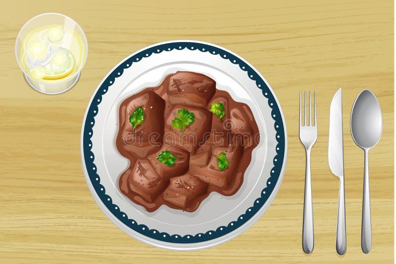 Prato da carne de porco em uma tabela de madeira ilustração royalty free