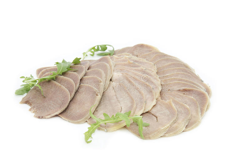 Prato da língua de carne imagem de stock