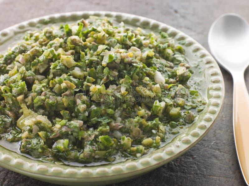 Prato da salsa Verde fotografia de stock