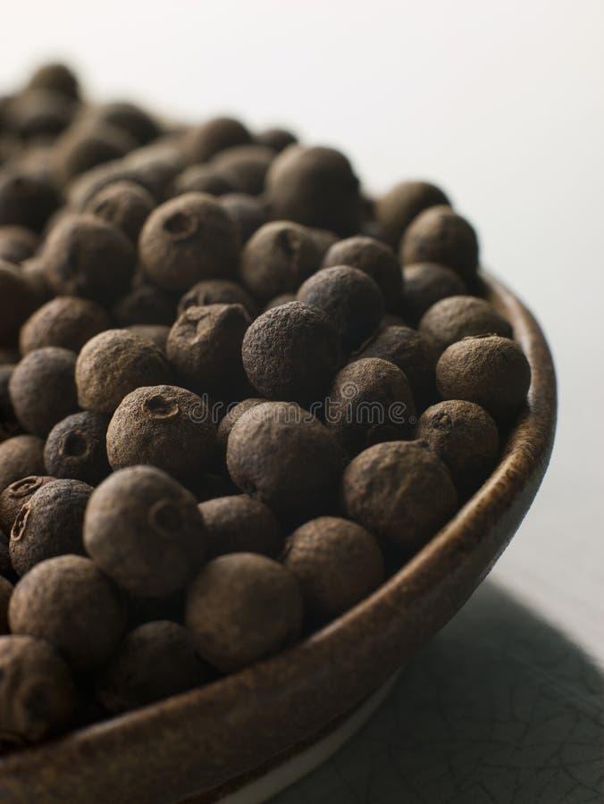 Prato de grãos da pimenta da Jamaica foto de stock royalty free