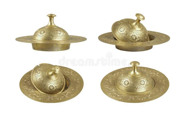 Prato de manteiga de bronze do vintage fotografia de stock royalty free