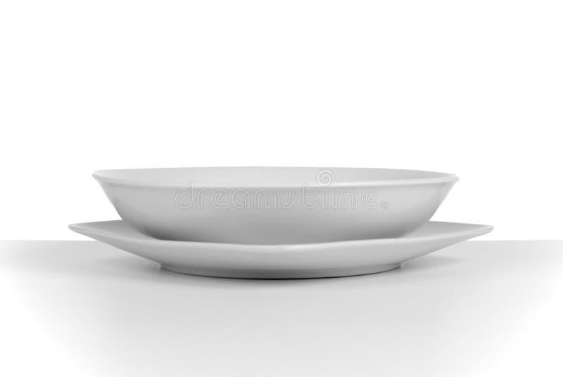 Prato de sopa cerâmico branco vazio imagem de stock royalty free