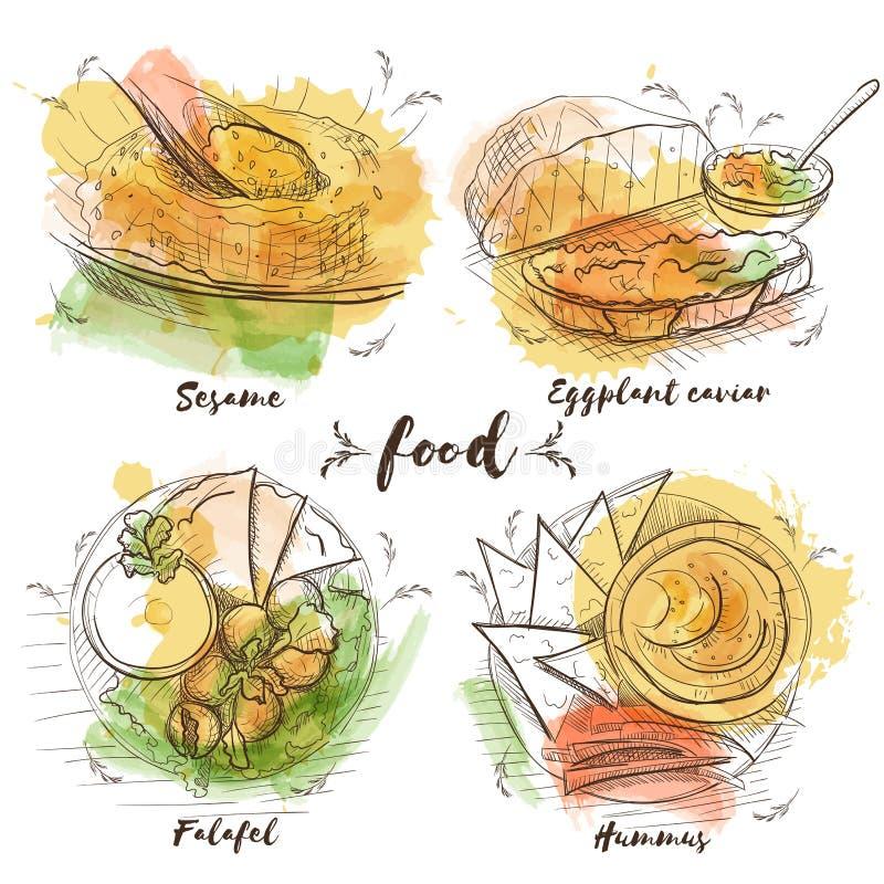 Prato de vegetariano da aquarela para o projeto da decoração Fundo da aquarela do vetor do esboço Alimento tradicional do vegetar ilustração stock