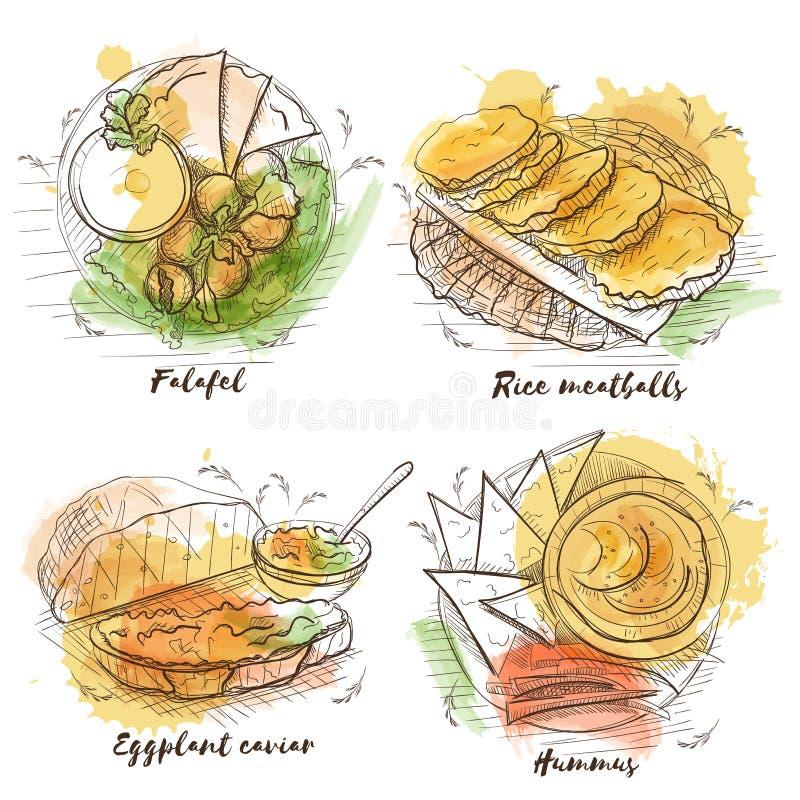 Prato de vegetariano da aquarela para o projeto da decoração Fundo da aquarela do vetor do esboço Alimento tradicional do vegetar ilustração do vetor