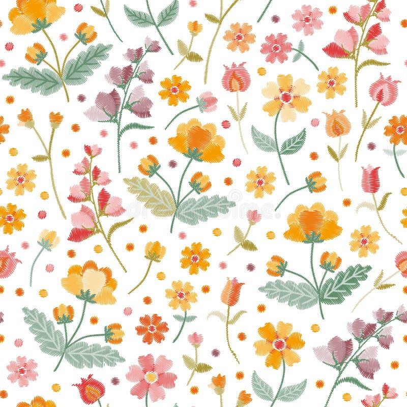 Prato di estate del ricamo Modello floreale ditsy senza cuciture con i bei fiori e foglie ricamati su fondo bianco royalty illustrazione gratis