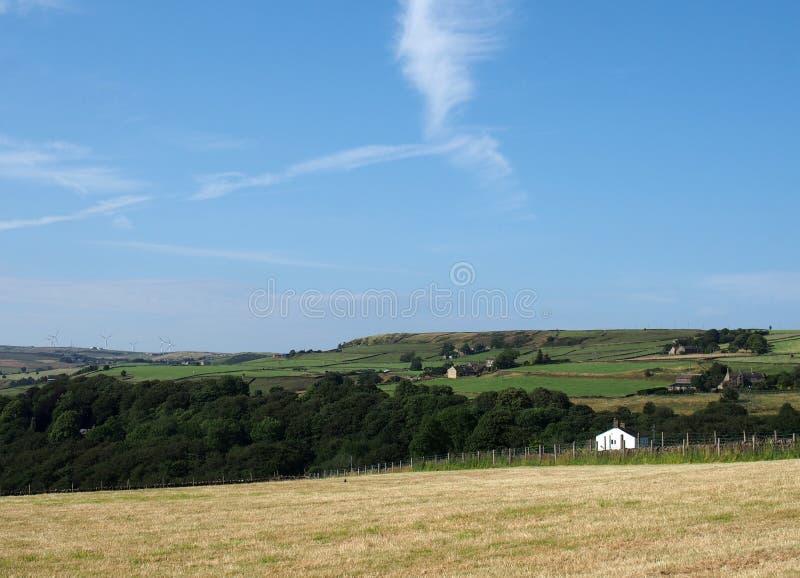 Prato di fieno di estate circondato dai campi e dalle fattorie verdi con un cielo soleggiato blu sopra il villaggio di per ludden immagini stock libere da diritti