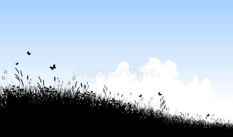 Prato e cielo illustrazione di stock