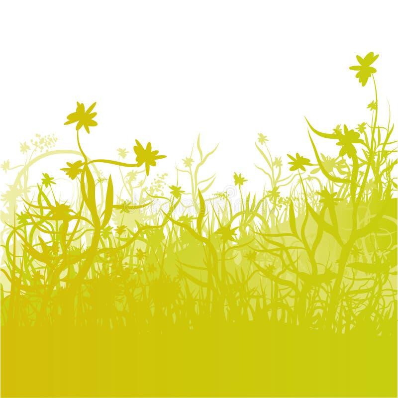 Prato, erba e fiori royalty illustrazione gratis