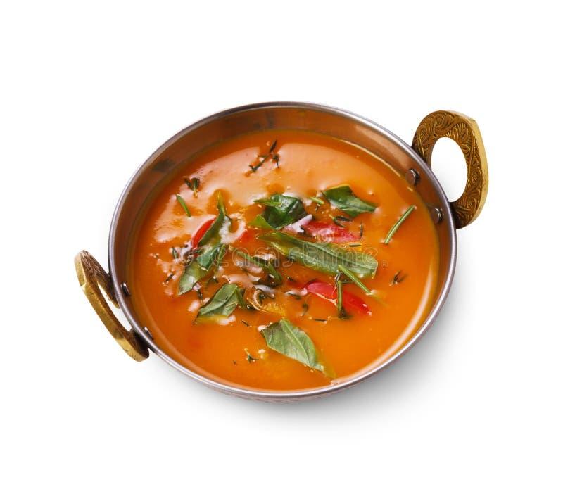 Prato indiano da culinária do vegetariano e do vegetariano, sopa cremosa do tomate picante fotografia de stock royalty free