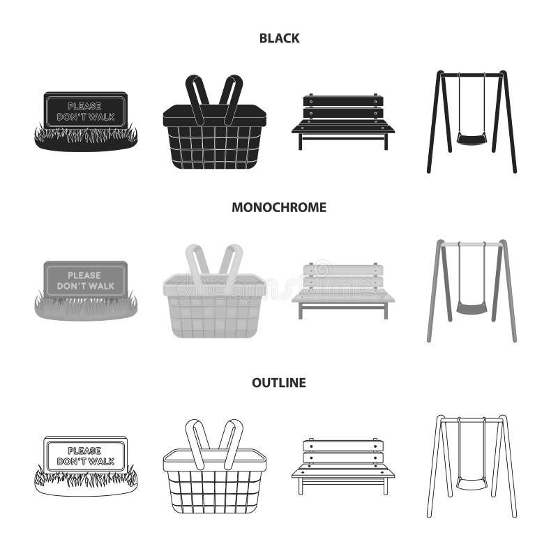 Prato inglese con un segno, un canestro con alimento, un banco, un'oscillazione Icone stabilite della raccolta del parco in nero, illustrazione vettoriale