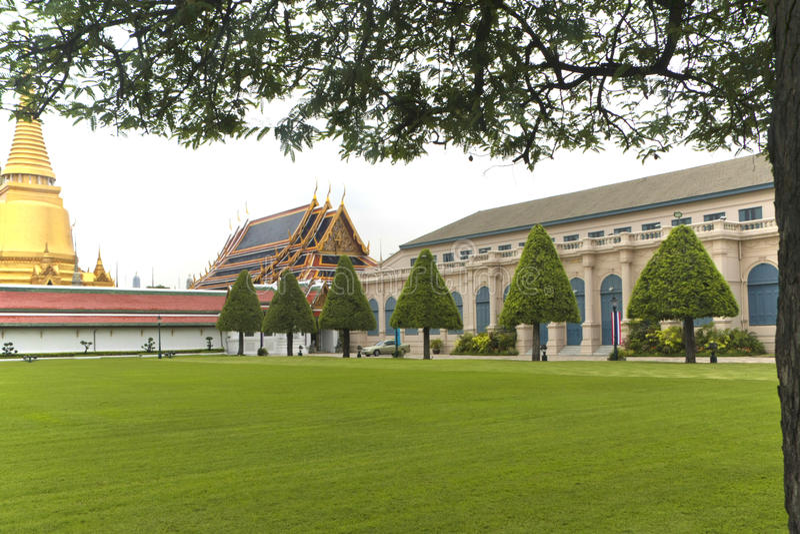 Prato inglese di verde lungo con gli alberi vicino all'architettura del palazzo i immagini stock libere da diritti