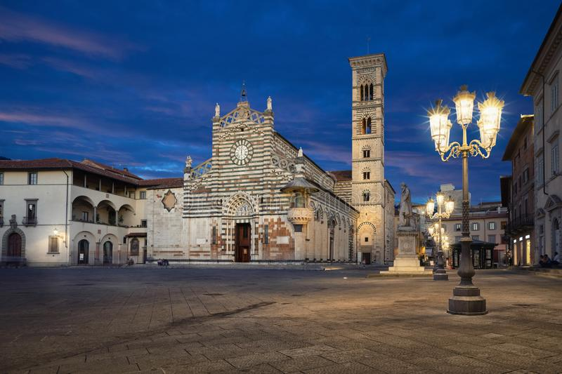 Prato, Italy. Piazza del Duomo and Cathedral at dusk. Prato, Italy. View of Piazza del Duomo square with Cathedral of Santo Stefano at dusk royalty free stock photo