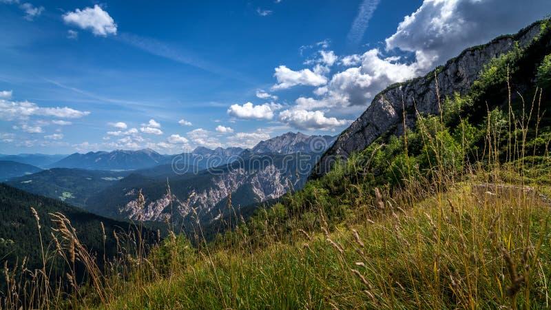 Prato nelle montagne vedute dalle tracce di escursione Alpi tedesche fotografia stock