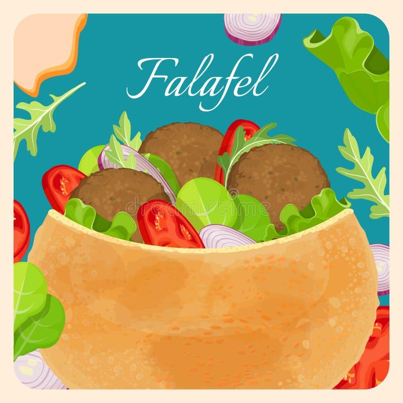Prato oriental exótico do Falafel com carne e vegetais ilustração do vetor