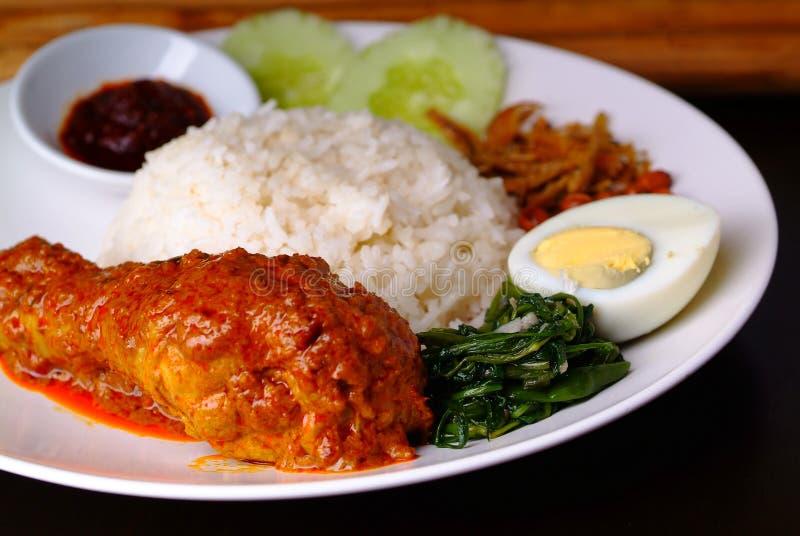 Prato picante tradicional do arroz do lemak de Nasi fotos de stock