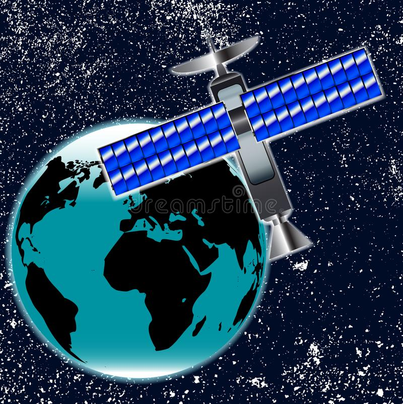 Prato satélite de Transmition na órbita sobre a terra ilustração royalty free