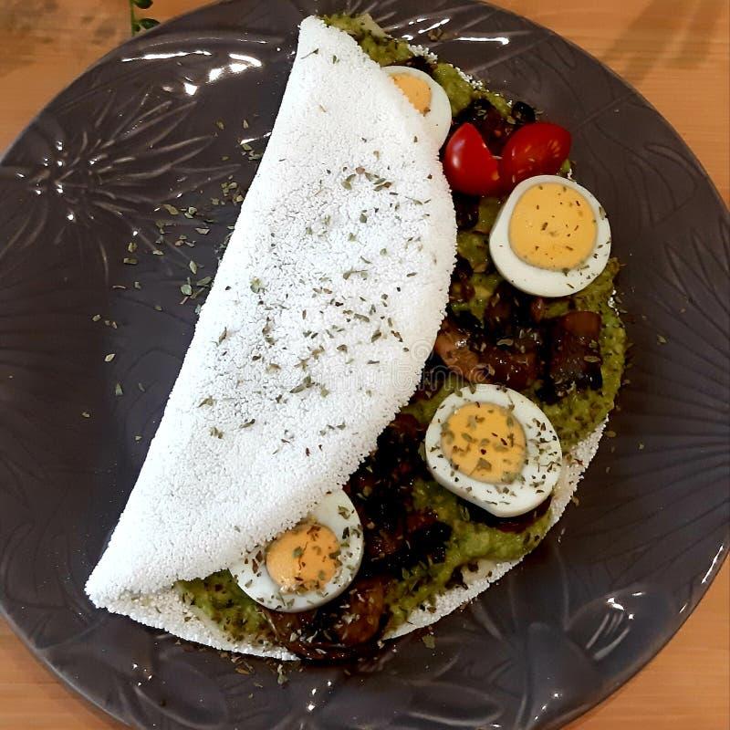 Prato saudável do alimento das tapiocas da panqueca imagem de stock royalty free