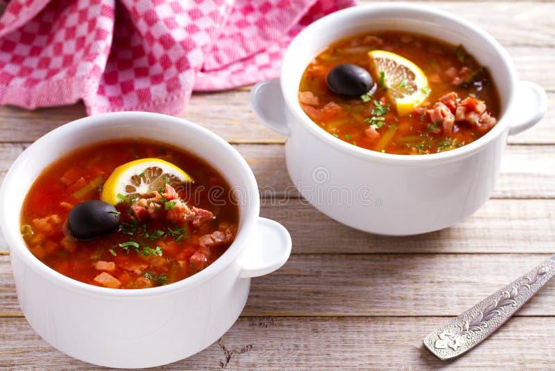Prato sopa grossa, picante e ácida de solyanka do russo - do saltwort foto de stock royalty free