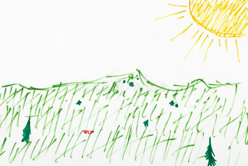 Prato sotto il sole giallo disegnato a mano dalle penne del feltro illustrazione di stock