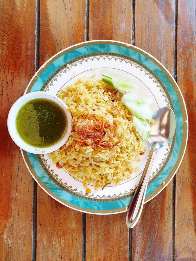 prato tailandês do arroz de caril fotografia de stock