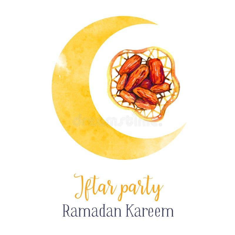 Prato tradicional da celebração do partido de Iftar com figos A festa muçulmana da ramadã santamente do mês Mal isolado tirado mã ilustração do vetor
