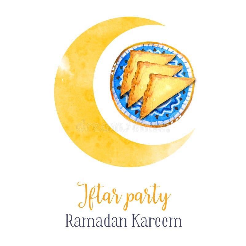 Prato tradicional da celebração do partido de Iftar A festa muçulmana da ramadã santamente do mês Ilustração isolada tirada mão d ilustração stock