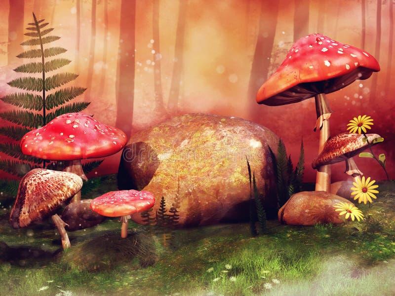 Prato variopinto con i funghi leggiadramente rossi illustrazione vettoriale