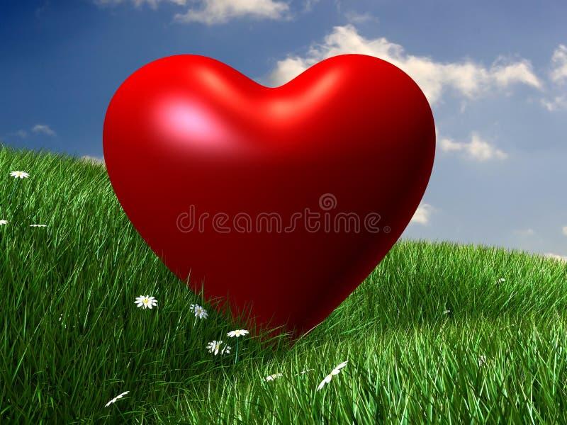 Prato verde con cuore rosso illustrazione vettoriale