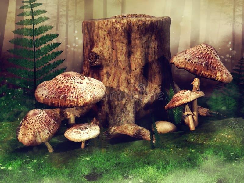 Prato verde con i funghi e gli alberi royalty illustrazione gratis