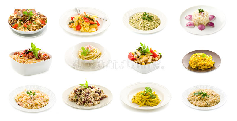 Pratos da massa e do arroz - colagem fotos de stock royalty free