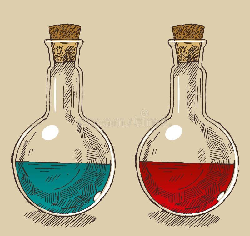 Pratos da química ilustração stock