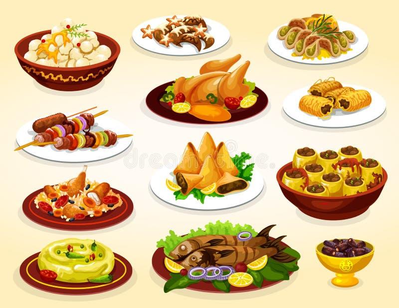 Pratos da ramadã da carne, de peixes e de sobremesas grelhados ilustração do vetor