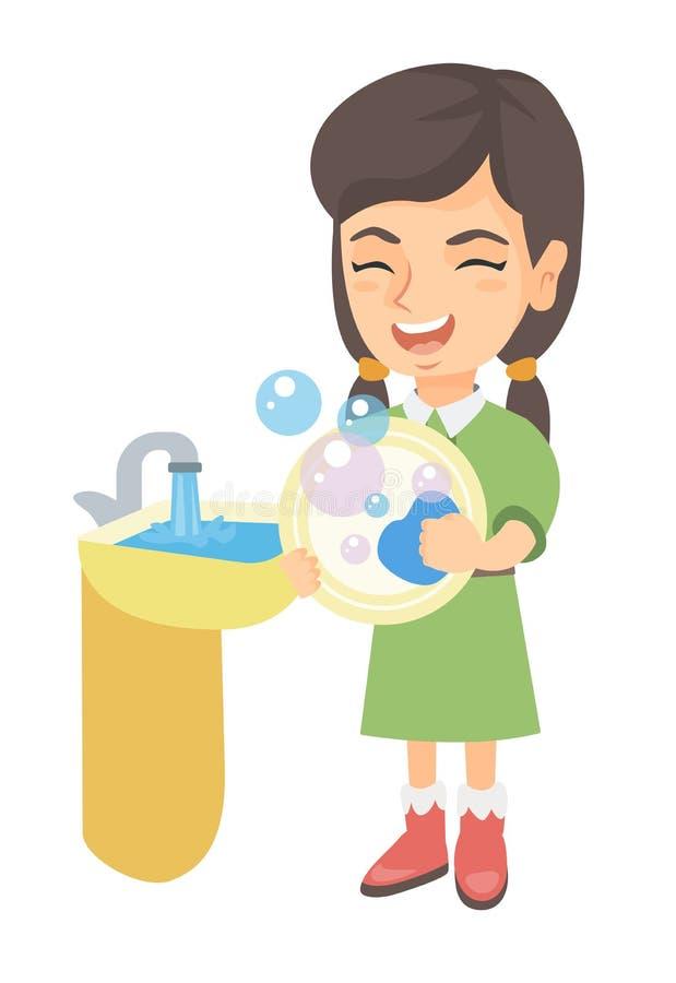 Pratos de lavagem da menina caucasiano pequena no dissipador ilustração do vetor