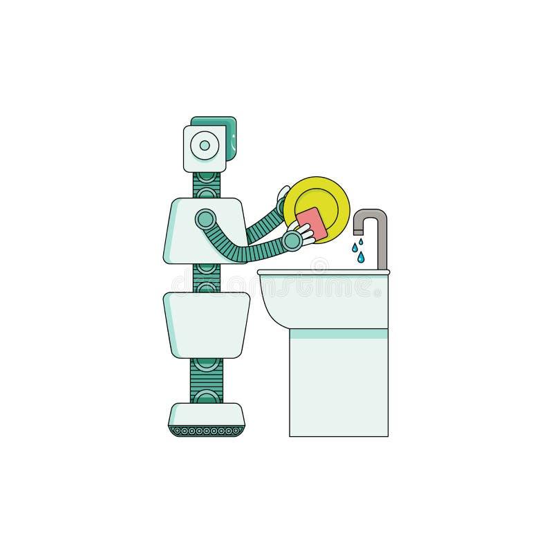 Pratos de lavagem do assistente home do robô na bacia da cozinha isolada no fundo branco ilustração royalty free