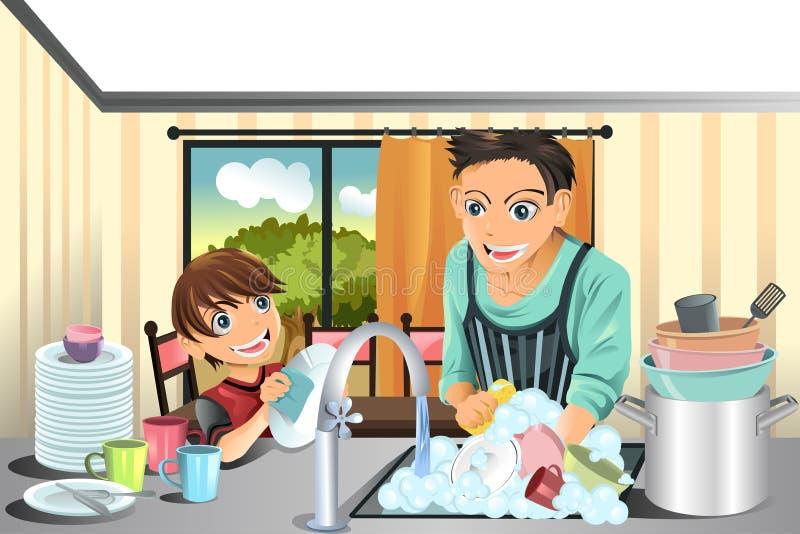 Pratos de lavagem do pai e do filho ilustração do vetor