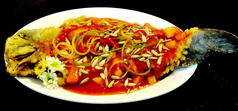 Pratos de peixes chineses imagem de stock royalty free