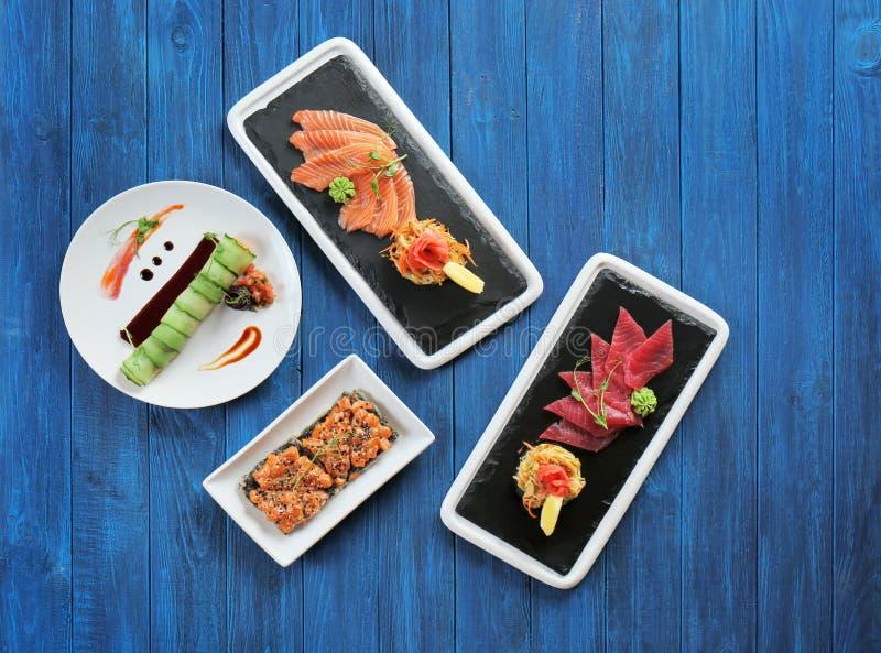Pratos diferentes com marisco imagens de stock