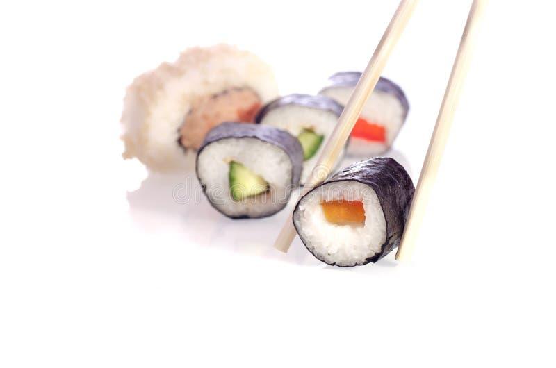 Pratos do japonês do sushi fotografia de stock royalty free